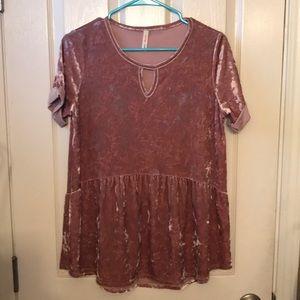 Crushed velvet peplum shirt